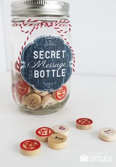 Secret Message in a Bottle Valentine's Day Gift and FREE Printable on My Sister's Suitcase #valentinesday