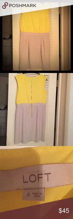 Ann Taylor Dress! Freshly Dry Cleaned!! Ann Taylor dress. Worn once. Beautiful contrast with light gray and bright yellow. LOFT Dresses