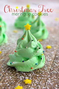 Christmas Tree Meringue Cookies, fun and festive meringue cookies that are light as air and melt in your mouth! Super cute for your holiday party! It's the last week of the Christmas series and I wanted to end it with a bang! Aren't these Christmas Tree Meringue Cookies the cutest?! Pin It
