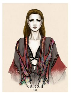 """Gucci illustration"" Fashion illustration i did this week, from the Spring Summer 2014 Gucci runway collection. ~BellaDonna~"