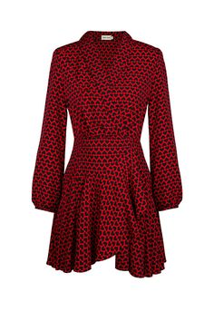 Vestido rojo cuello en v TERIA YABAR Otoño invierno 2019 2020 Dress Red, Fall Winter, Skirts