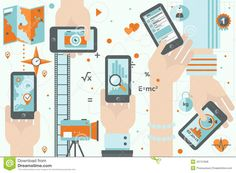 Smartphone Apps In Action Flat Design Illustration Stock Vector - Image: 42747836