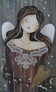 Paintings I Love, Beautiful Paintings, Diy Painting, Painting On Wood, Heaven Art, Acrilic Paintings, Christmas Angel Ornaments, Painting Templates, Angel Crafts