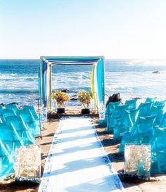 Brides: Aqua and Green Beach Wedding Decor . Set the stage with cheery shades of aqua and green. Featured In: Beach Wedding Style: Aqua and Green Small Beach Weddings, Blue Beach Wedding, Seaside Wedding, Summer Wedding, Wedding Colors, Wedding Styles, Dream Wedding, Destination Wedding, Wedding Set