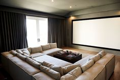 Inside Scott Disick's Hamptons-Inspired Hidden Hills Home Home Theater Room Design, Home Cinema Room, Home Theater Rooms, Home Theatre, Scott Disick House, Salas Home Theater, Architectural Digest, Casual Living Rooms, Style Deco