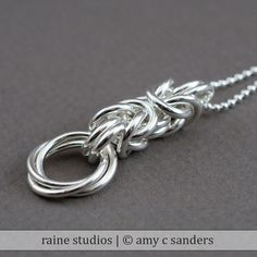 raine studios - Byzantine Love Knot Chainmaille Pendant, $84.00 (http://www.rainestudios.com/byzantine-love-knot-chainmaille-pendant/)