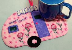 Happy Camper  4  Pretty Pink Floral and Lavender by QuiltinCats, $10.50 vintage trailer glamping