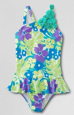 0c8e0769f3 Girls' Coconut Cove Flower Shoulder Skirted One Piece Swimsuit from Lands'  End