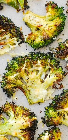 Asiago Roasted Broccoli - thinly sliced broccoli florets baked with Asiago cheese on top. Crusty, crunchy, delicious side dish or just a snack to crunch on! Because broccoli is sliced thinly, Side Dish Recipes, Vegetable Recipes, Vegetarian Recipes, Cooking Recipes, Healthy Recipes, Keto Recipes, Healthy Snacks, Healthy Eating, Vegetable Side Dishes