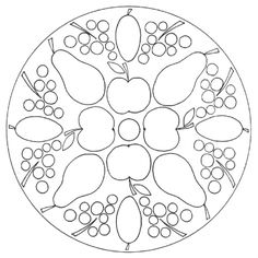 Fall Fruits Mandala 2 for pre-K, kindergarten and elementary school - Obst Doodle Drawings, Doodle Art, Kindergarten, Fall Fruits, Cool Coloring Pages, Machine Embroidery Patterns, Plate Design, Mandala Coloring, Easter Wreaths