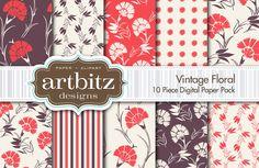 Vintage Floral 10 Piece Texture Pack by ArtBitz on Creative Market