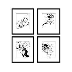 Paint Splatter Set 11, Black And White Art, Digital Black And White Art Prints, Abstract Art, Contemporary Art, Printable Art, Home Decor