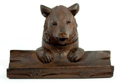 Antique Hand Carved Black Forest Inkwell, Pen Tray, Bear w Glass Eyes Black Forest Wood, Old Hands, Wax Seals, Fountain Pens, Wells, Dreaming Of You, Hand Carved, Insects, Lion Sculpture