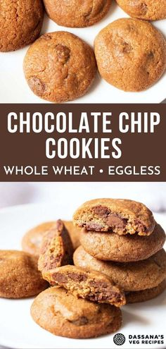 Want to try eggless cookies but not sure what recipe to try? Check out these easy, chewy chocolate chip cookies! These are made from scratch and are so good. Use whatever chocolate chips you have available, like Toll House, and I used whole wheat flour to make the cookies healthy but feel free to use all-purpose flour. Try these delicious homemade eggless cookies with pudding for dessert tonight! #eggless #egglessbaking #vegetarian #healthy #worldcuisine #chocolatechipcookies… Eggless Chocolate Chip Cookie Recipe, Eggless Cookie Recipes, Healthy Chocolate Mousse, Eggless Desserts, Healthy Chocolate Chip Cookies, Eggless Baking, Healthy Cookies, Chocolate Chips, Vegan Desserts