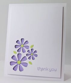 handmade thank you card from Manitoba Stamper ... clean and simple ... trio of negative die cut flowers n graduated sizes ... luv it!