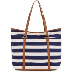 Monsoon Stripe Beach Tote Bag ($44) ❤ liked on Polyvore featuring bags, handbags, tote bags, bolsas, purses, totes, purse tote, handbags purses, faux leather tote and striped tote