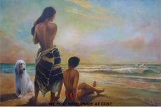 Joseph Henry Lynch (1911-1989) oil on board semi clad lady, boy and dog on a beach at sunset (57