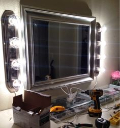 my diy vanity mirror after with led lights for a lot less than what pros a. Black Bedroom Furniture Sets. Home Design Ideas