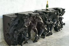 Sideboard table / contemporary / petrified wood / indoor LONG JÉRÔME-ABEL SEGUIN