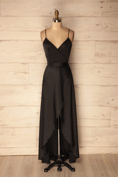 Olinthos - Black satin wrap maxi dress #promdresses #valentinesday #summerdresses
