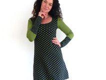 "Kleid, A-Form - Schwarz, grün ""Sterne, Ringel, ..."