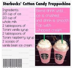 Make Your Own Starbucks Drinks! Save The Money And Know What's In Your Drink 😃😃 - Starbucks recipes - Secret Starbucks Recipes, Starbucks Menu, Starbucks Hacks, Starbucks Coffee, Homemade Starbucks Recipes, Yummy Drinks, Yummy Food, Frappuccino Recipe, Starbucks Recipes