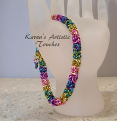 Handcrafted Byzantine Rainbow Bracelet on Ebay $39.99
