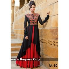 Rozdeal Red And Black Designer Gown. Diy lehenga gown.