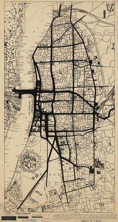 Mapa de densidad de tráfico en Calcuta, 1913