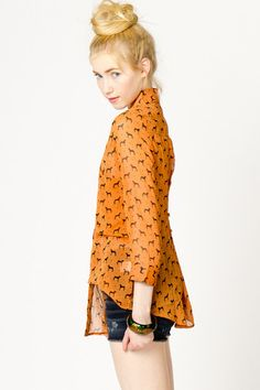 Dog & Dot Sleeve Blouse in Persimmon