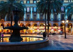 Barcelona, Spain. Plaza Reial (Royal Square). Favorite plaza to sit and watch life go by. Sitting at tables of Glaciar Bar (bohemian-style of the old cafes) you will encounter tourists, acrobats, kids or couples holding hands. Another, the Plaza del Pi is absolutely charming, located in the heart of the Gothic Quarter, you can enjoy the lively medieval city next to the stunning church of Santa Maria del Pi, beautiful historic shops, and daily local life.
