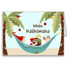 Hawaiian Christmas Mele Kalikimaka Tropical Santa Cards Beach Coastal