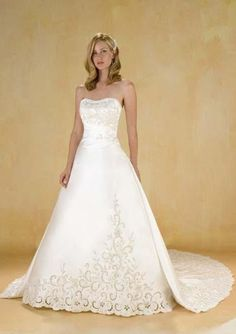 A-Line Strapless Court Train Satin Tulle Bridal Dresses,$224.90