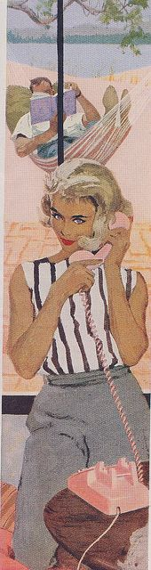 Mujer al teléfono. Ilustración de los años 50.