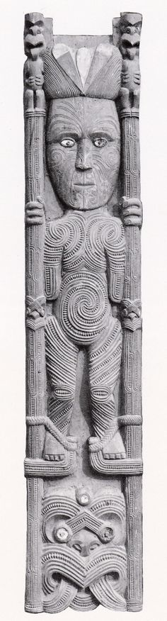 Tamatekapua, captain of the Arawa canoe. He had been forced to leave Hawaiki because of a feud with another chief, and at one stage in this quarrel he had used stilts to steal fruit from his enemy's trees. In this carving he is depicted with his stilts.