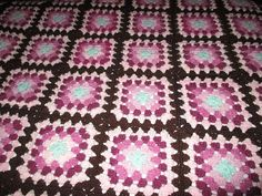 For sale in our Ebay store.....click on the photo for more details....  Granny Square AFGHAN Crochet Handmade Purple Pink Brown FOLK ART Blanket 66 x 46 #Handmade #homemade #afghan #blanket #throw #grannysquare