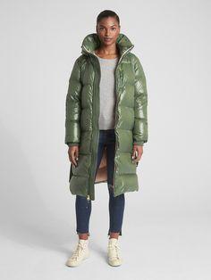 Gap Women's Long High-Shine Down Puffer Coat Jungle Green Long Jackets, Puffer Jackets, Winter Jackets, Coats 2018, Long Puffer Coat, Long Down Coat, Green Coat, Dress Codes, Outfit Of The Day