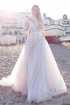 Wedding Dresses Lace #WeddingDressesLace, A-Line Wedding Dresses #ALineWeddingDresses, Pink Wedding Dresses #PinkWeddingDresses