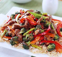 Ginger Beef Stir Fry. Add a touch of color to this Asian medley by using a mixture of red, green, and yellow sweet pepper strips. Try this healthy main dish that's perfect for diabetics.
