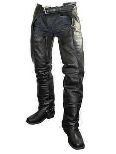 West Coast Choppers T-Shirts Xelement Men's Black Cowhide Leather Motorcycle Chaps with Removable Insulating Liner Leather Jeans, Cowhide Leather, Leather Jacket, Leather Outfits, Motorcycle Chaps, Motorcycle Garage, Motorcycle Leather, Stylish Men, Men Casual