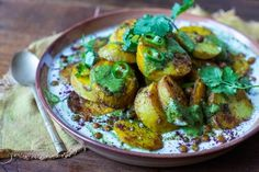 Indian Spiced Potatoes With Yoghurt, Crispy Chick Peas Coriander Salsa — Farm to Fork Crispy Chickpeas, Canned Chickpeas, Ella Vegan, Brussel Sprout Slaw, Indian Food Recipes, Ethnic Recipes, Indian Foods, Veggie Recipes, Yummy Recipes