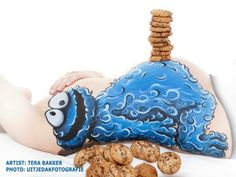 cookie monster belly painting