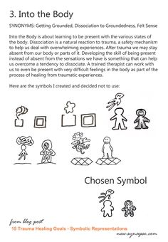 I've been having a lot of fun lately drawing symbols. You see, I want to put symbols next to each exercise in the book of trauma healing self-therapy exercises I am working on. The symbols will indicate all the Healing Goals that exercise will help one achieve. So I got to work and - whew…