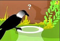 The thirsty crow ponders over its problem. English Moral Stories, Short Moral Stories, English Stories For Kids, Moral Stories For Kids, Short Stories For Kids, English Story, Reading Stories, Easy Kids Art Projects, Easy Art For Kids