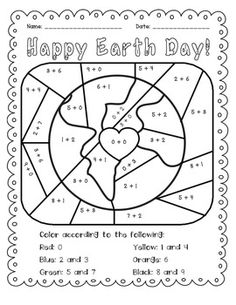 Earth Day: Add and Color Activity $1.50. Students practice basic addition facts and then color. Great for morning work or a math center.