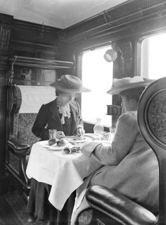 Passengers in a first class dining car, England c1905