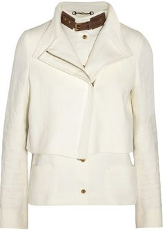 Gucci White Layered Linen Canvas Jacket