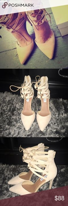 ONE DAY SALE‼️🆕 Lace up Ankle Strap Pumps Super cute, beautiful Suede lace up pumps! Steve Madden Shoes Heels