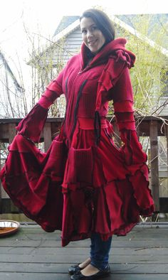 Red Riding Hood Womens Sweater Coat repurposed from recycled sweaters. Patchwork with flared skirt, sleeves fitted waist and liripipe hood