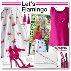 """""""Let's Flamingo"""" features Chicwish Chic Flamingos Pleated A-line Skirt 